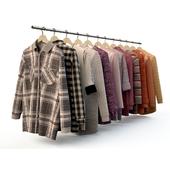 A set of men's shirts, T-shirts, jackets