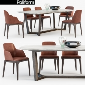 Poliform Grace chair Concorde table set3