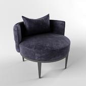 Elegant low velvet capitone chair