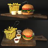 Hamburger Fries and sauces