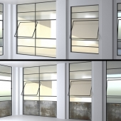 SET 4 Steel Factory Windows wired glass wireglass