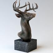 "Bronze sculpture ""Head of a deer."""