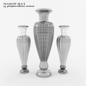 A set of decorative glass vases