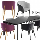 Ton armchair split, table trapez