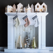 Artificial fireplace with candles and Christmas decoration 2