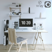 Desk with decor