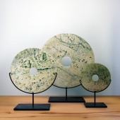 BALSAMO - Set of Three Cream and Grey Disc Sculptures