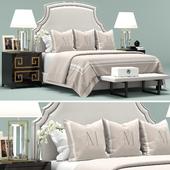 Upholstered White Headboard Bed