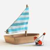Children's toy sailboat