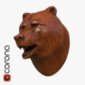 bear head wooden