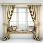 Soft quilted sill with cushions and curtains