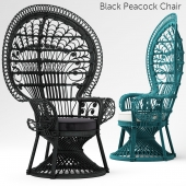 Armchair Black Peacock Chair New In