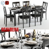 Scavolini Baccarat table and chairs Black