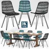 Table and chairs HKliving Rotan Stoel