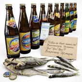 Beer in bottles.