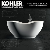 Kohler lithocast Abrazo + Scala floor bath mixer curved