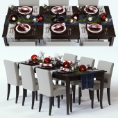 C&B Red Shimmer Holiday Table
