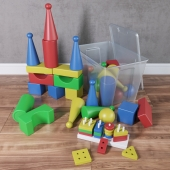 A set of toys with a container