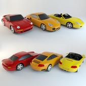 porsche set of toy cars
