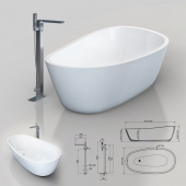 Vasca da bagno Almond & NOKEN Lounge bath tap