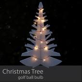 Wooden Christmas Tree - Golf Ball Light Bulb