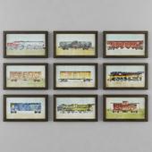 VINTAGE TRAIN CAR ART