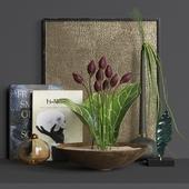 Flower tulips decor set