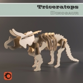 Prefabricated wooden model Triceratops