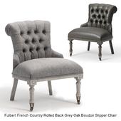 Fulbert French Country Rolled Back Grey Oak Boudoir Slipper Chair