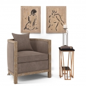 Uttermost_Viaggio Accent Chair, Agnes Accent Table, Cosme Candleholders S / 2, Silhouettes S / 2