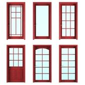 six doors with pane glass