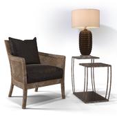 Uttermost_Encore Armchair, Teeranie Accent Table, Mazur Table lamp