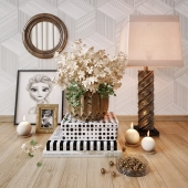 White flowers decorative set