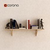 Wood shelf with books Set