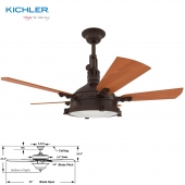 "Kichler 44"" Hatteras Bay Patio Ceiling Fan"
