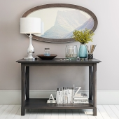 Console with mirror and lamp.
