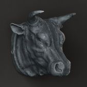 RH CIRCA 1900 CAST METAL BULL'S HEAD