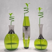 Vases set with bamboo