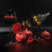 Set (drinks and fruits)