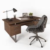 Clybourn Walnut Executive Desk, Graham Black Office Chair, Morgan Black Metal Desk Lamp, Bowers & Wilkins Headphones