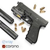 Pistol Glock 17 Gen4 + Flashlight with laser pointer