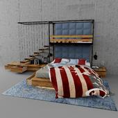 Детская 2х ярусная кровать в стиле Loft