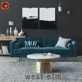 Set with sofa Monroe Mid-Century Sofa and decor
