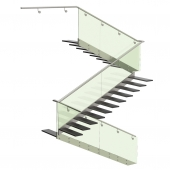 Three turning staircase. Metal, glass.