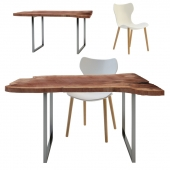 Table slabs of wood  and chair Papilio Shell                LT