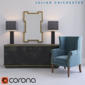 Julian Chichester: Elgin Low Cabinet, Kelso Chair, Hennessey Mirror; MERCAN: Berkley I