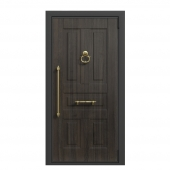 Front door with a hammer and a decorative handle