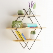 Diamond shelf with decor