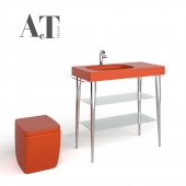 Sink with a shelf and a toilet and faucet AET Fusion