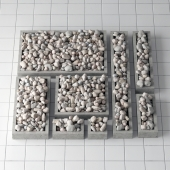 Pedestal stone pebble collection